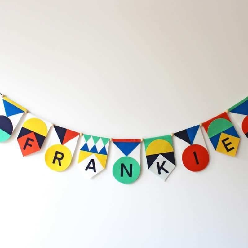 Easy no-sew felt name garland kit yellow full Mamahoela